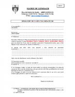 Formulaire de demande de case columbarium